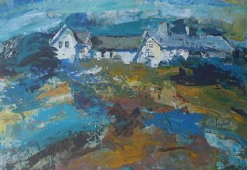 Andrew Hood Original Mixed Media Painting Cottages By The Sea